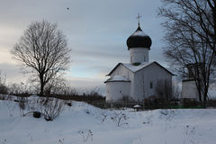 Russian winter. Vybuty Pogost near Pskov, Russia. Royalty Free Stock Photos