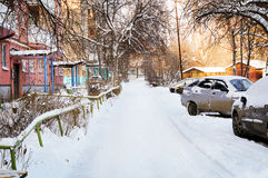 Russian winter yard in a residential area Stock Photo