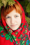 Russian woman in a folk shawl Royalty Free Stock Images