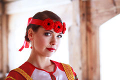Russian woman. Russian girl in the village Stock Photography