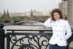 Russian woman and kremlin Stock Photo