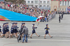 Russian woman midshipmans march at the parade on annual Victory Stock Image