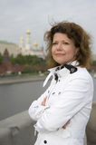Russian woman and Moscow kremlin close up Royalty Free Stock Photography