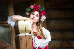 Russian woman in national costume royalty free stock photo