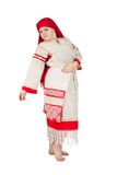 Russian woman posing in national clothes Royalty Free Stock Photos