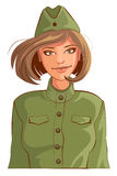 Russian woman retro soldier. Isolated on white vector cartoon illustration Stock Image