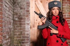 Russian woman with rifle. Stock Image