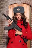 Russian woman with rifle. Stock Photography