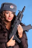 Russian woman with rifle Royalty Free Stock Image