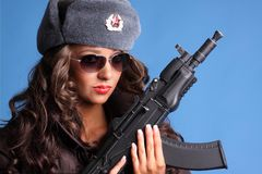 Russian woman with rifle Stock Photos
