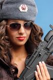 Russian woman with rifle Royalty Free Stock Images