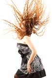 Russian woman shaking head with long hair. Beautiful russian woman shaking head with long hair on white background. More of this series on my portfolio Royalty Free Stock Photos