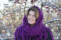 The Russian woman in shawl on  head Royalty Free Stock Photo