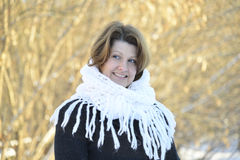 Russian woman in shawl on his shoulders Royalty Free Stock Images