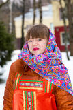 Russian woman in traditional costume. With colorful shawl stock images
