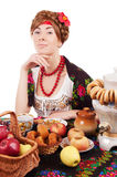 Russian woman with traditional food Stock Photography