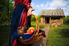 Russian woman in traditional Russian dress. With basket apples on background of old wooden house Stock Image
