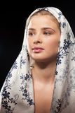 Russian woman wearing a headscarf royalty free stock image