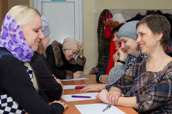 Russian women in the classroom in the parish Sunday school. Royalty Free Stock Photo