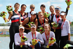 Russian women team rowing Stock Photos