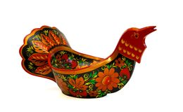 Russian wooden bowl in shape of bird isolated Stock Images
