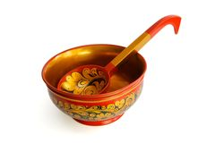 Russian Wooden Bowl With Ladle Royalty Free Stock Images