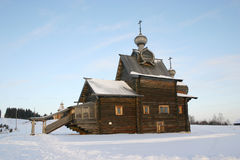 Russian wooden cathedral. In Khokhlovka Royalty Free Stock Photo