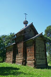 Russian wooden church. Old wooden church near Veliky Novgorod, Russia Royalty Free Stock Images