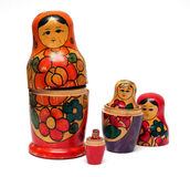 Russian wooden dolls set - Royalty Free Stock Photography