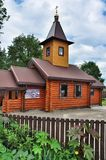 Russian wooden orthodox Church of Kazan icon of the mother of God. The parish Church of the Kazan icon of the Mother of God Imeretian village town of Goryachy Royalty Free Stock Photography