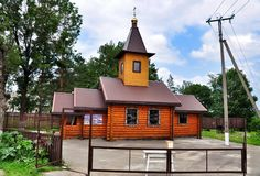 Russian wooden orthodox Church of Kazan icon of the mother of God Stock Photo