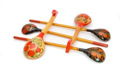 Russian wooden painted spoons isolated Stock Images