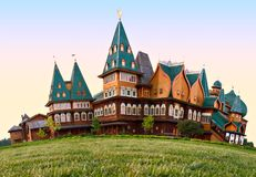 Russian wooden Palace in Moscow. A wooden residence of the Russian Tsars in Kolomenskoye, Moscow, Russia Royalty Free Stock Photography