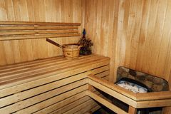 Free Russian Wooden Sauna Room, Lumber Rustic Bench In Bath House, Wo Royalty Free Stock Image - 90010146