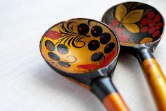 Russian wooden spoon on white background royalty free stock image