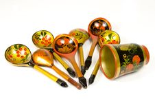 Russian wooden spoons Royalty Free Stock Image