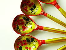 Russian wooden spoons. Tradition drawing tableful celebration material Royalty Free Stock Image
