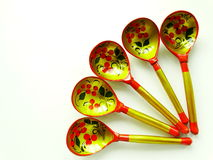 Russian wooden spoons. Tradition drawing tableful celebration material Stock Photo