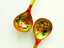 Russian wooden spoons. Tradition drawing tableful celebration material Stock Photos