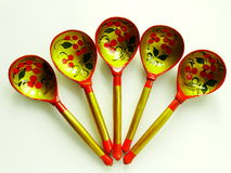 Russian wooden spoons. Tradition drawing tableful celebration material Royalty Free Stock Photo