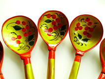 Russian wooden spoons. Tradition drawing tableful celebration material Royalty Free Stock Images