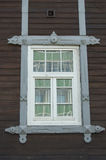 Russian wooden window in Tomsk, Russia.  Old house. Historic building. Royalty Free Stock Photography