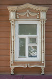 Russian wooden window in Tomsk, Russia.  Old house. Historic building. Royalty Free Stock Photos