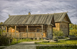 Russian woodhouse. Etnomir - traditional house  of Russia old house in Russian villadge reconstraction Stock Photography