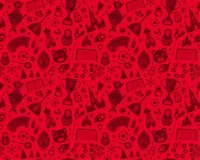 Russian World cup soccer football championship 2018 seamless background pattern. Russian World cup soccer football championship 2018. Red Russia silhouette icon Stock Photo