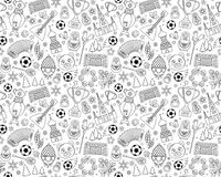 Russian World cup soccer football championship 2018 seamless background pattern. Russian World cup soccer football championship 2018. Russia thin line icons Stock Photos