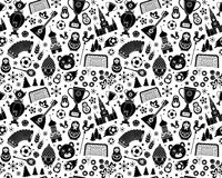 Russian World cup soccer football championship 2018 seamless background pattern. Russian World cup soccer football championship 2018. Black and White Russia Stock Image