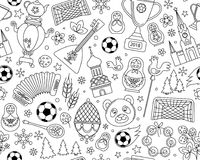 Russian World cup soccer football championship 2018 seamless background pattern. Russian World cup soccer football championship 2018. Russia thin line icons Stock Photo