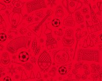 Russian World cup soccer football championship 2018 seamless background pattern. Russian World cup soccer football championship 2018. Russia thin line icons Royalty Free Stock Images