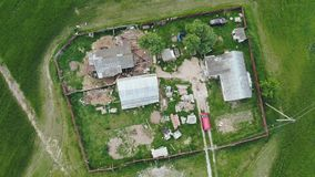 Russian yard on a farm. Aerial view from a height. stock video